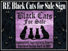 RE Black Cats for Sale Sign - Fun Witch Halloween Decor!