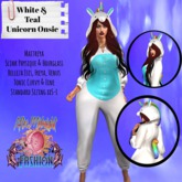 ::AMF:: White And Teal Unicorn Onsie
