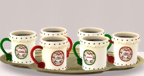 Second Life Marketplace Christmas Coffee Mug Service Set Boxed