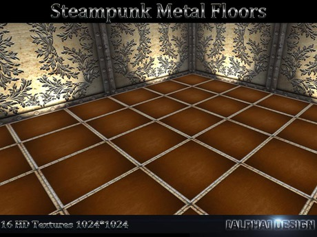 Steampunk Metals And Wood Floor Tile