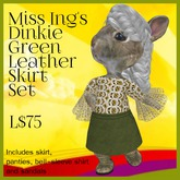 Miss Ing's Dinkie Green Leather Skirt Set