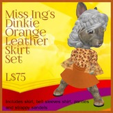 Miss Ing's Dinkie Orange Leather Skirt Set