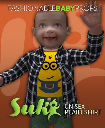 SUKI. Unisex Plaid Shirt. Black