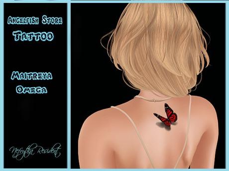 Tattoo Angelfish Red Butterlfy Back
