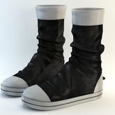 fame femme : Leather chucks - UNISEX - Black & White