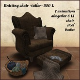Tailor knitting chair with animations and basket