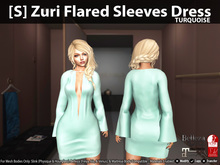 [S] Zuri Flared Sleeves Dress Turquoise