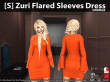 [S] Zuri Flared Sleeves Dress Orange