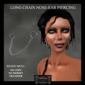 Second Life Marketplace Nasty Doll Long Chain Piercing Nose Ear