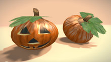 "2 LI ""Halloween Linden's Pumpkin"" regular prims (mod, copy) + bonus builder script"