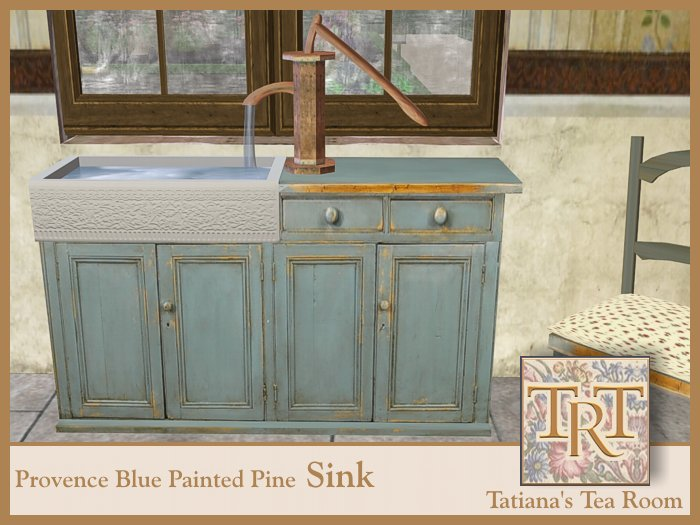 TTR-Provence-Blue Painted Pine Sink