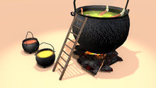 """2 LI """"Witch Cauldron w Animated Water & Steam"""" scripted, any texture (mod, copy)"""
