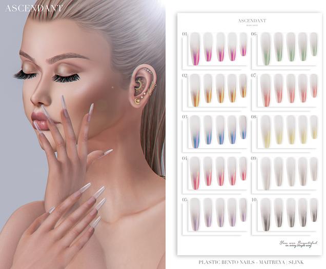 Ascendant - Plastic Bento Nails Fatpack - Maitreya/Slink