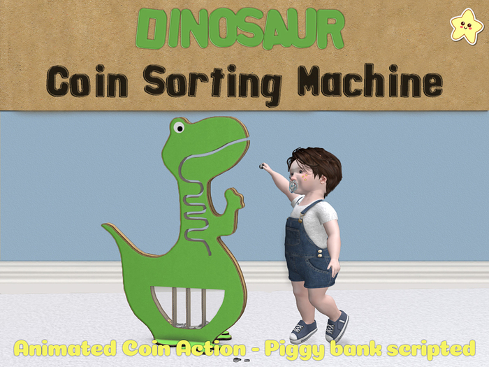 [Killi's] Animated Dinosaur Coin Sorting Machine - Tip Jar / Piggy Bank