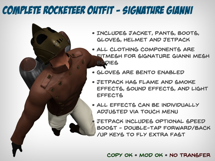 Complete Rocketeer Outfit – Signature Gianni