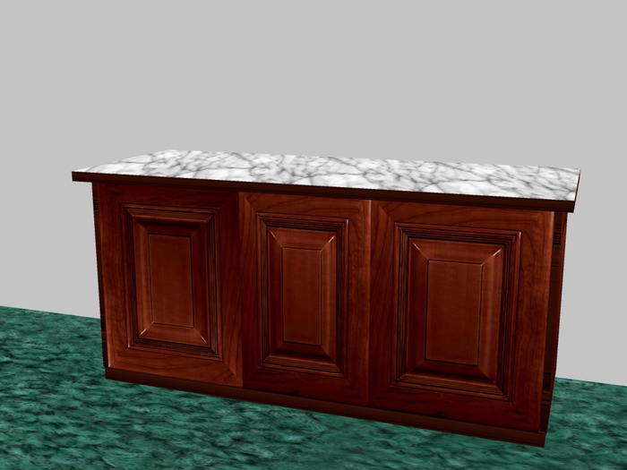 Second Life Marketplace Gp Kitchen Island With 2 Doors Rosewood 5 Prims