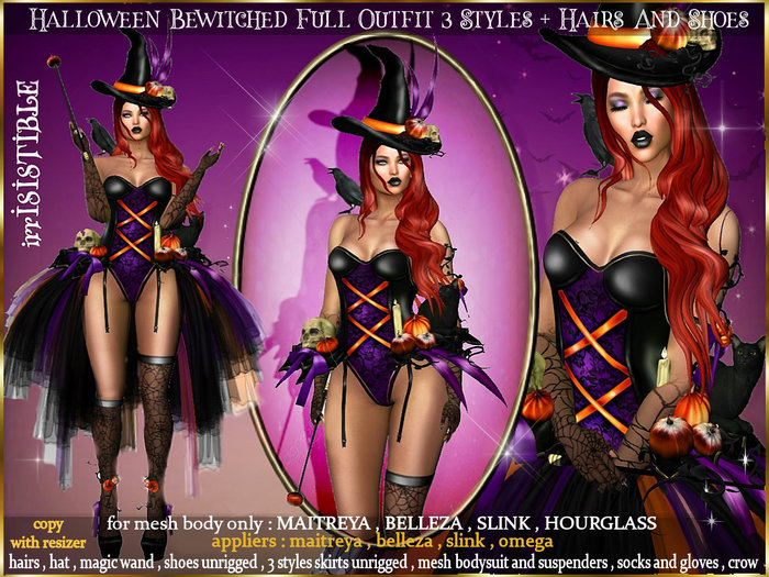 irrISIStible : HALLOWEEN BEWITCHED WITCH OUTFIT 3 STYLES SKIRTS + HAIRS + SHOES