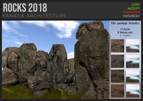 :Fanatik Architecture: ROCKS 2018 – ultimate low prim mesh sim building / landscaping kit