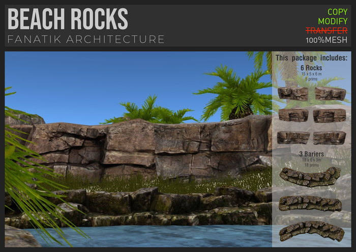 :Fanatik Architecture: BEACH ROCKS – realistic mesh rocks, sim building / landscaping kit