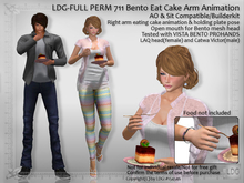 LDG-FULL PERM 711 Bento Eat Cake Arm Animation - AO & Sit Compatible / Cake Holding Pose /Builderkit