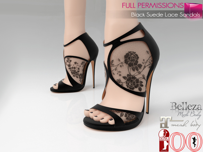 %50WINTERSALE Full Perm Black Suede Lace Sandals Slink High, Maitreya High, Ocacin Killer Heel, Belleza, High Heel
