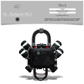 :::SOLE::: SA - Backpack Mk.3 (Black)