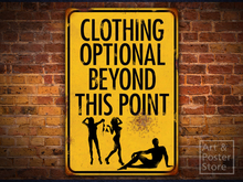 CLOTHING OPTIONAL Risqué Rusty Weathered Metal Sign POSTER