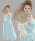 gacha outfit 410 Belle Epoque Enchanted Princess blue, Tableau Vivant hair, [Black Bantam] Beaded Pearl Necklace Silver