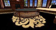 Round wooden inlay coffee table