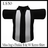 Miss Ing's Dinkie Black and White Retro Shirt Boxed