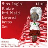 Miss Ing's Dinkie Red Plaid Layered Dress Set