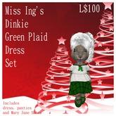 Miss Ing's Dinkie Green Plaid Layered Dress Set