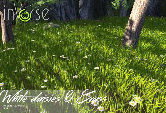 inVerse® MESH - White daisies & grass meadow