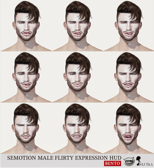 SEmotion Male Bento Flirty Expression HUD - 9 facial expressions for Catwa / Lelutka male bento heads