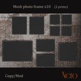 Nero - Photo frame x10 - wall model - grey wood (2 prims)