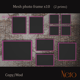 Nero - Photo frame x10 - wall model - hot pink (2 prims)