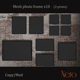 Nero - Photo frame x10 - wall model - black wood (2 prims)