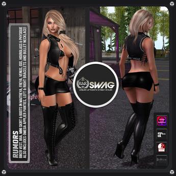 [RnR] Swag Rumors Biker Outfit Mini Skirt for Maitreya, Lara & Belleza Freya, Isis & Venus & Slink Physique, Hourglass!