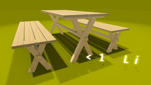 """0.7-1 prim full perm """"Garden Table w 2 Benches"""" mesh + sculpt map, any texture"""