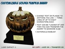 Customizable Golden Pumpkin Award