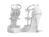 Ao bow embellished bridal high heels stiletto pointy toe white shoes