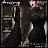 C&F Arachnea Spider Web Gown - Black- Updated for mesh bodies Maitreya, Belleza, & Slink sizes