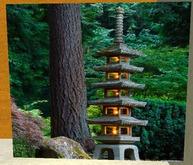 Tall Pagoda Stone Lantern At Japanese Garden