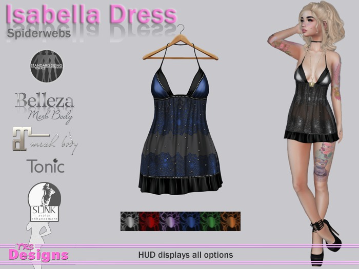 Isabella Dress With Hud Spiderweb