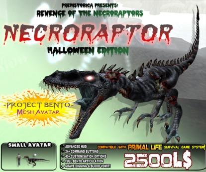 Halloween NECRORAPTOR ~ Spooky Bento Mesh Undead Dinosaur Avatar ~ Prehistorica: The Dawn Kingdoms~