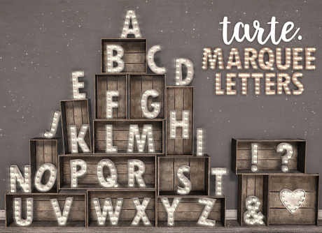 tarte. marquee letters