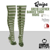 [OMK] Quigs Fish Net Boots Green Leather  (Belleza Venus Left)