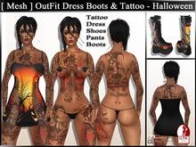 [Mesh] Maitreya & Slink OutFit Dress Boots Tattoo - Halloween