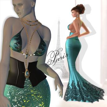 Son!a Paris Rigged Mesh Dress Sequins Sky