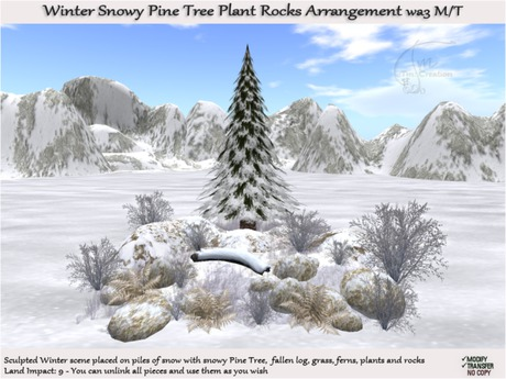 wa3 Winter scene placed on piles of snow with Snowy Pine Tree Log Plants Rocks arrangement-MOD/TRANSF